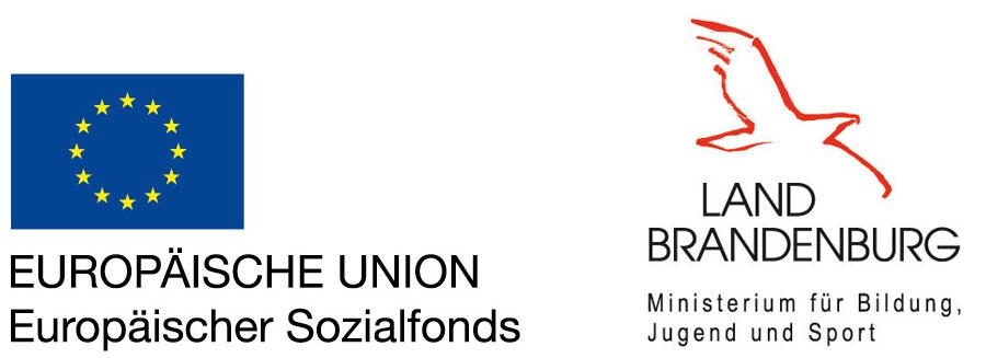 Logos Europäischer Sozialfonds und Land Brandenburg MBJS
