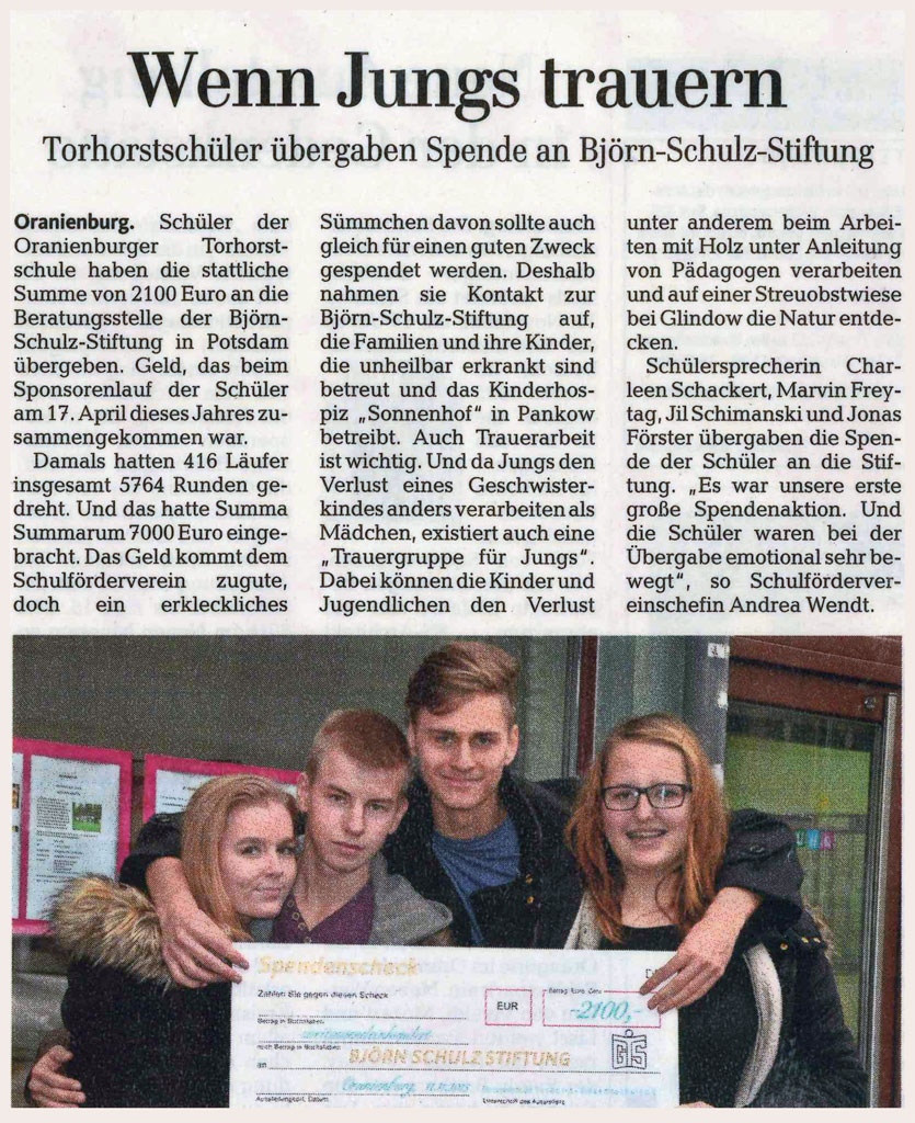 Spende an Björn Schulz Stiftung